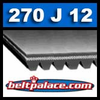 270J12 Poly-V Belt (Micro-V): Metric 12-PJ686 Motor Belt.