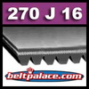 270J16 Poly-V Belt, Metric 16-PJ686 Drive Belt.