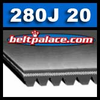280J20 Belt, 280-J20 Poly-V Belts: J Section, PJ711 Motor Belt. 28 inch (711mm) Length, 20 Ribs.