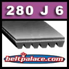 280J6 Poly-V Belt (Standard Duty), Metric 6-PJ711 Motor Belt.