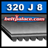 320J8 Belt, 320-J8 Poly-V Belts (Micro-V): J Section, Metric PJ813 Motor Belt. 32� (813mm) Length, 8 Ribs.