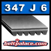 347J6 Poly-V Belt. 34.7 inch 6 rib Belt. PJ881 Metric Length: 881mm.