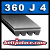 360J4 Belt, 360-J4 Poly-V Belts: J Section, Metric PJ914 Motor Belt. 36 inch (914mm) Length, 4 Ribs.