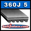 "360J5 Poly V Belt. 36"" Length (914mm), 5 Ribs. 360J-5 Drive Belt. Metric belt 5-PJ914."