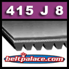 415J8 Poly-V Belt (Micro-V): Commercial Grade. Metric 8-PJ1054 Motor Belt.