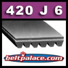420J6 Poly-V Belt (Standard): Metric 6-PJ1067 Motor Belt.