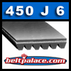 450J6 Belt, 450-J6 Poly-V Belts: J Section, Metric PJ1143 Motor Belt. 45 inch (1143mm) Length, 6 Ribs.