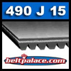 490J15 Poly-V Belt (Micro-V): Metric 15-PJ1245 Motor Belt.
