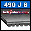 490J8 Poly-V Belt (Micro-V): Metric 8-PJ1245 Motor Belt.