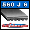 "560J6 Belt, Micro-V Belts: 56"" (1422mm) Length, 6 Ribs. Metric Belt PJ1422 (6PJ1422)."