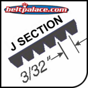 "J Section Belts - 3/32"" Rib Width. Industrial Poly V (Micro V)."