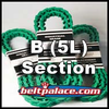 "Link V Belt: B-BX (5L) Section. 0.66"" Top Width. Urethane Molded Link V-Belts Sold by the Lineal Foot (USA)."