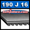 190J16 Belt, Poly-V Belts: J Section, 19 inch 16 rib.