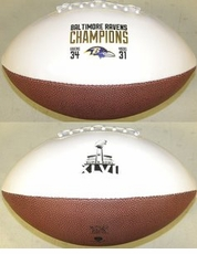 Baltimore Ravens Super Bowl 47 XLVII Champions Jarden White Full Size Football