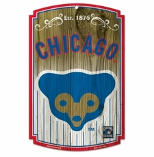 Chicago Cubs Wood Sign - Bear Logo