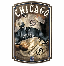 Chicago White Sox Wood Sign w/ Throwback Jersey