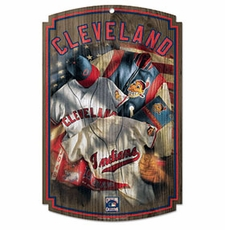 Cleveland Indians Wood Sign w/ Throwback Jersey