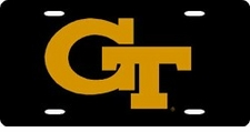Georgia Tech Yellow Jackets Black Laser Cut License Plate