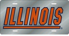 Illinois Fighting Illini Silver Laser Cut License Plate