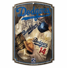 Los Angeles Dodgers Wood Sign w/ Throwback Brooklyn Jersey