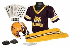 LSU Tigers Deluxe Youth / Kids Football Helmet Uniform Set
