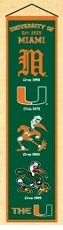 Miami Hurricanes Wool 8x32 Heritage Banner