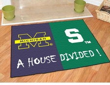 Michigan Wolverines - Michigan State Spartans House Divided Floor Mat
