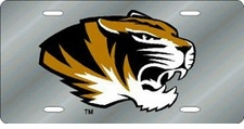 Missouri Tigers Silver Laser Cut License Plate