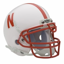 Nebraska Huskers White Schutt Authentic Mini Helmet