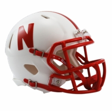 Nebraska Huskers White Riddell Speed Mini Helmet