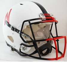 Nebraska Huskers White w/ Black Stripe Riddell Revolution Speed Authentic Helmet