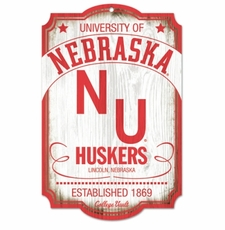 Nebraska Huskers Wood Sign - College Vault