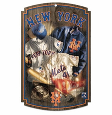 New York Mets Wood Sign w/ Throwback Jersey