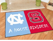 North Carolina Tarheels - North Carolina State Wolfpack House Divided Floor Mat