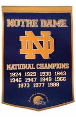 Notre Dame Fighting Irish 24 x 36 Football Dynasty Wool Banner (Navy)