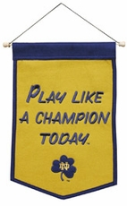 Notre Dame Fighting Irish Play Like A Champion Today Wool 12 x 18 Mini Banner
