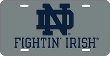 Notre Dame Fighting Irish Silver Laser Cut License Plate