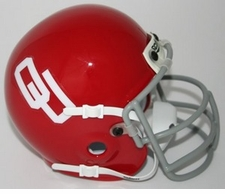 Oklahoma Sooners 1967-76 Gray Mask Schutt Throwback Mini Helmet
