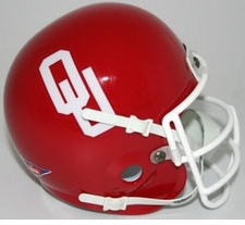 Oklahoma Sooners 1967-76 White Mask Schutt Throwback Mini Helmet