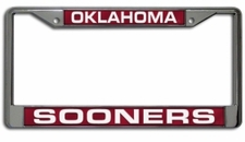 Oklahoma Sooners Laser Cut Chrome License Plate Frame