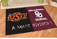 Oklahoma State Cowboys - Oklahoma Sooners House Divided Floor Mat