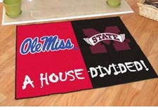 Ole Miss Rebels - Mississippi State Bulldogs House Divided Floor Mat