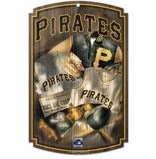 Pittsburgh Pirates Wood Sign w/ Throwback Jersey