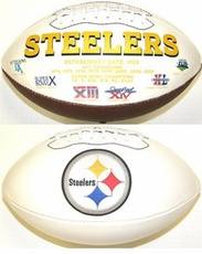 Pittsburgh Steelers Fotoball Embroidered Signature Full Size Football w/ All 6 Super Bowl Logo