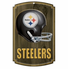 Pittsburgh Steelers Wood Sign - Throwback