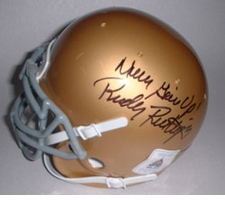 "Rudy Ruettiger Autographed ""Never Give Up"" Notre Dame Fighting Irish Mini Helmet"