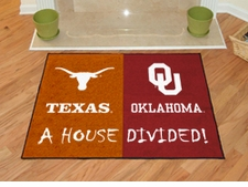 Texas Longhorns - Oklahoma Sooners House Divided Floor Mat