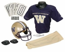 Washington Huskies Deluxe Youth / Kids Football Helmet Uniform Set
