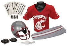 Washington State Cougars Deluxe Youth / Kids Football Helmet Uniform Set