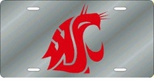 Washington State Cougars Silver Laser Cut License Plate